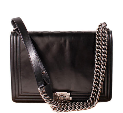 chanel black boy bag gunmetal hardware - lambskin leather | baghunter