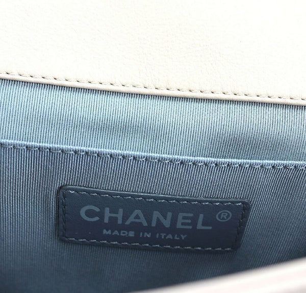 chanel boy flap bag light beige used logo