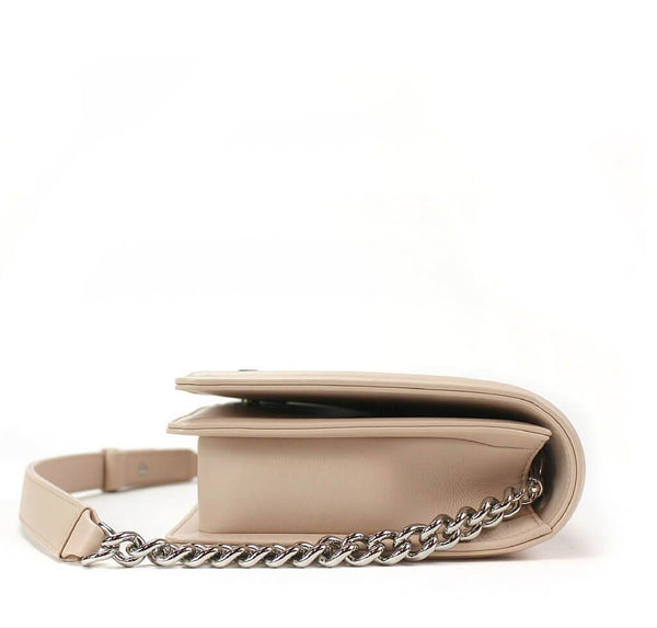 chanel boy flap bag light beige used side