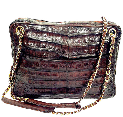 Chanel Vintage Tote Bag Brown Alligator