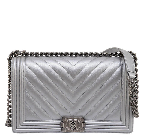 Chanel Silver Boy Bag Caviar Leather