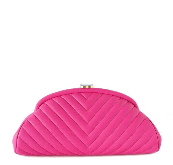 Chanel Chevron Clutch Bag Pink