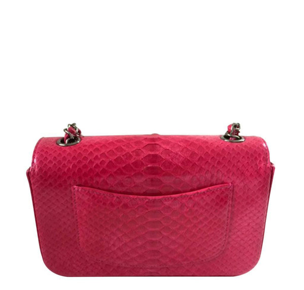 Chanel Classic Flap Python Red New Back