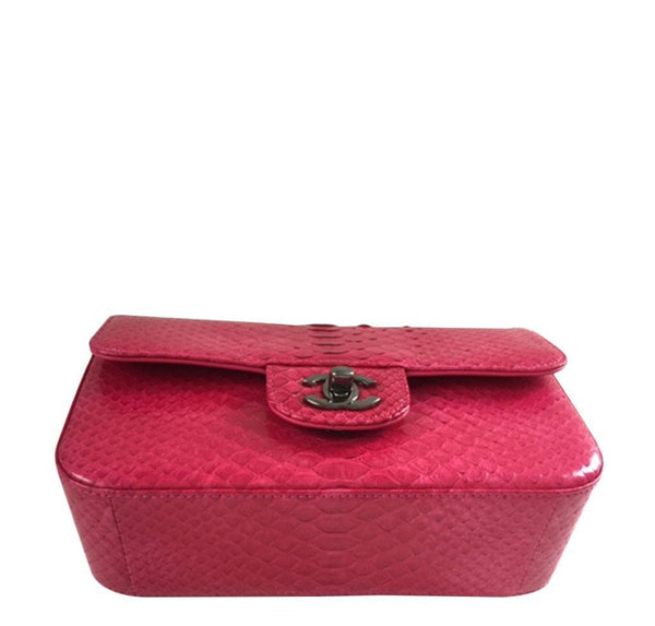 Chanel Classic Flap Python Red New front bottom