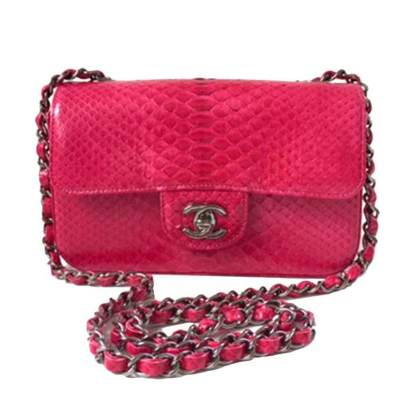 Chanel Classic Flap Bag Python Red