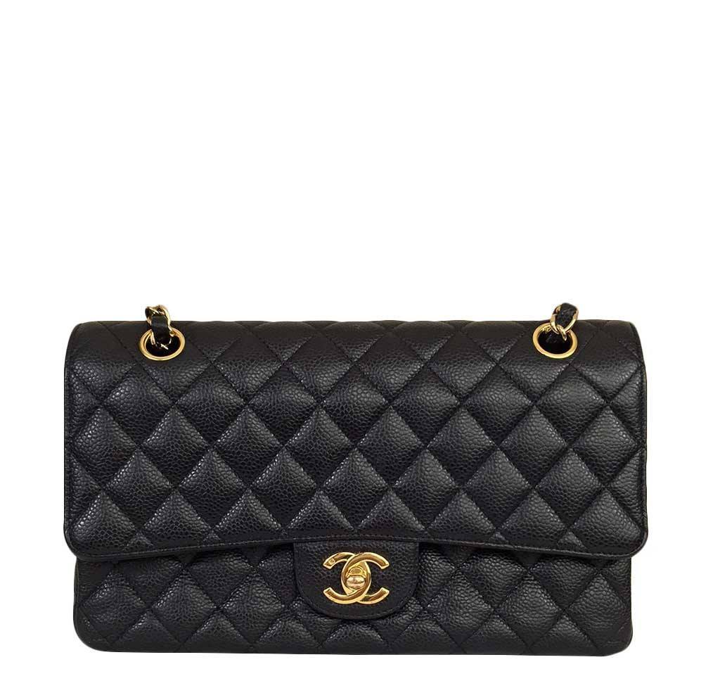 052303dcffe2 Chanel Black Medium Flap Bag chanel classic medium flap bag caviar black  used ...