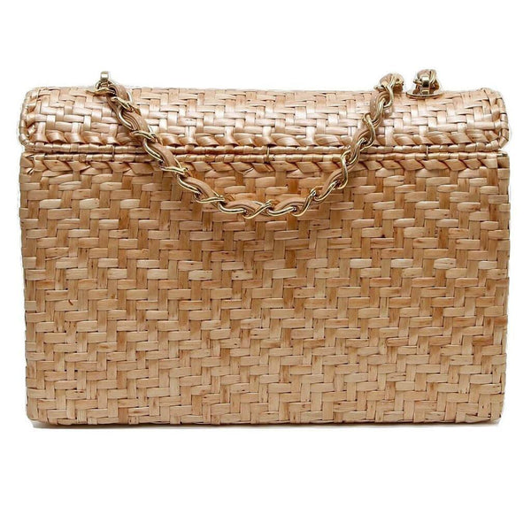Chanel Classic Single Flap Rattan Wicker Used Back