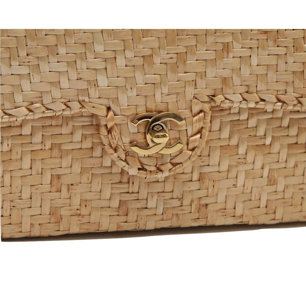 afd1027b0dfe ... Chanel Classic Single Flap Rattan Wicker Used Detail ...