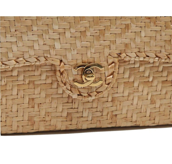 Chanel Classic Single Flap Rattan Wicker Used Detail