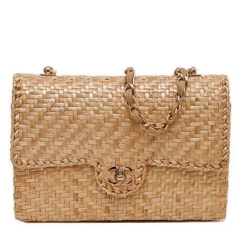 Chanel Single Flap Rattan Wicker Bag