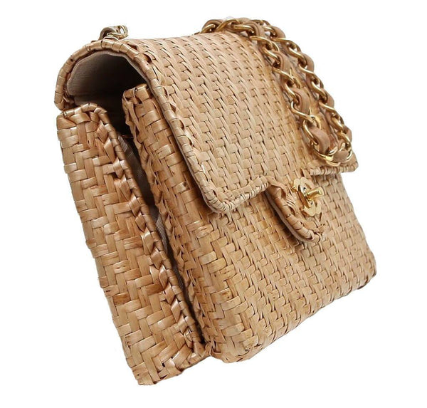 Chanel Classic Single Flap Rattan Wicker Used Side