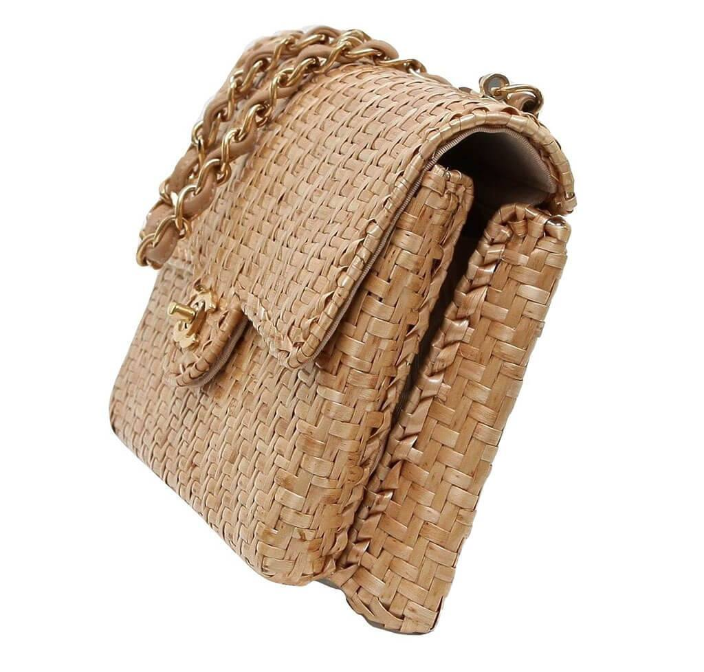 8d7e8a9313ad ... Chanel Classic Single Flap Rattan Wicker Used Side ...