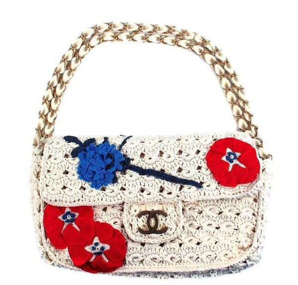 Chanel Crocheted Knit Camelllia Runway Bag
