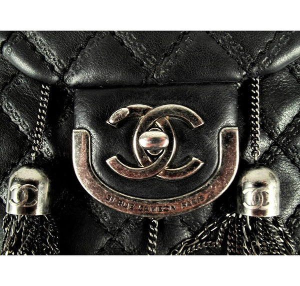 Chanel Crossbody Tassel Bag Black Used Detail