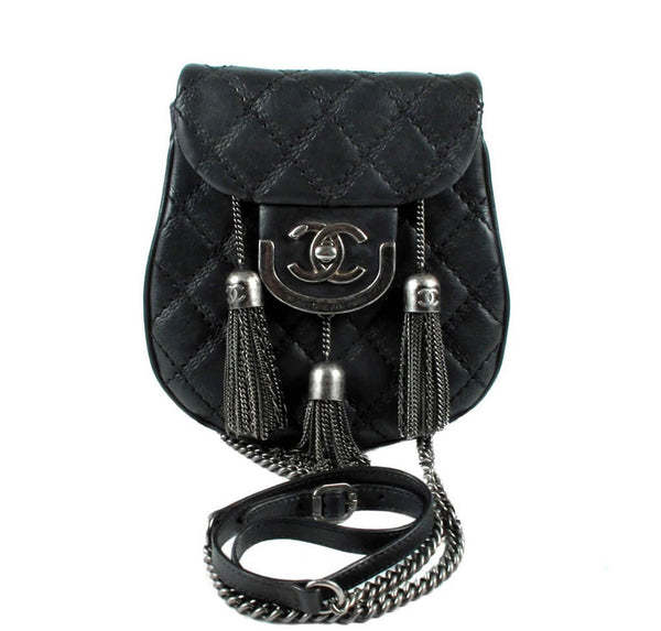 Chanel Edinburgh Crossbody Tassel Bag Black