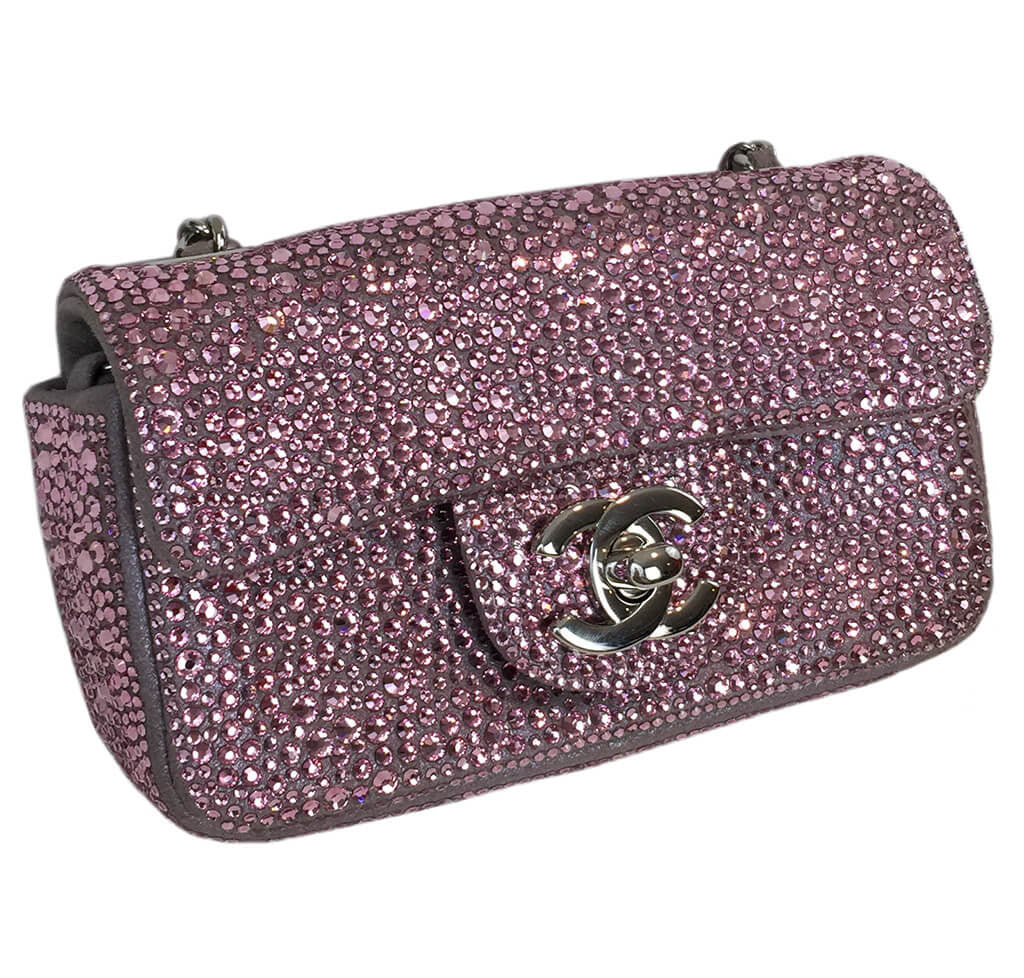 3444b55c6a0 Chanel Mini Bag Pink Swarovski Crystals Chanel Mini Bag Pink Swarovski  Crystals ...