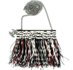Chanel Shoulder Bag Multicolor Ostrich Feather