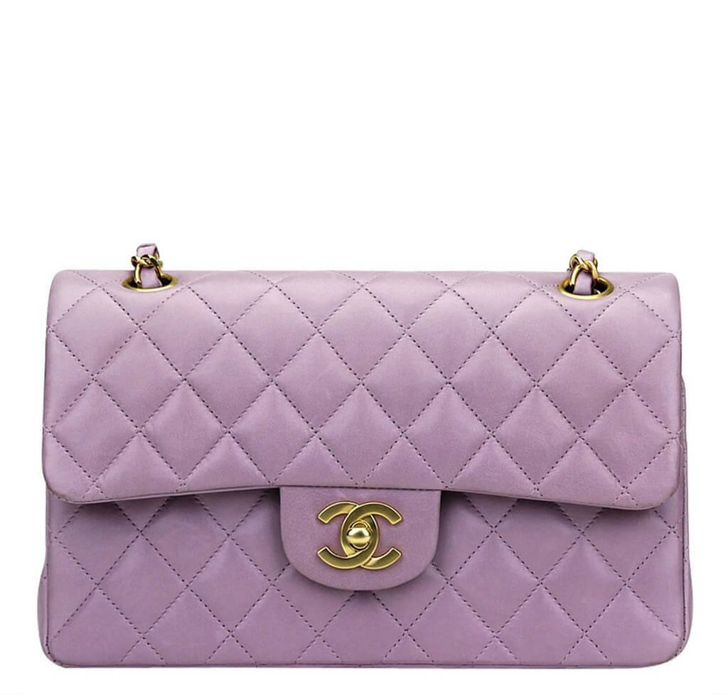 be67a60bf054 Chanel Flap Bag Purple Lambskin