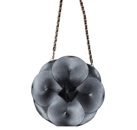 Chanel Camellia Runway Bag Black Satin