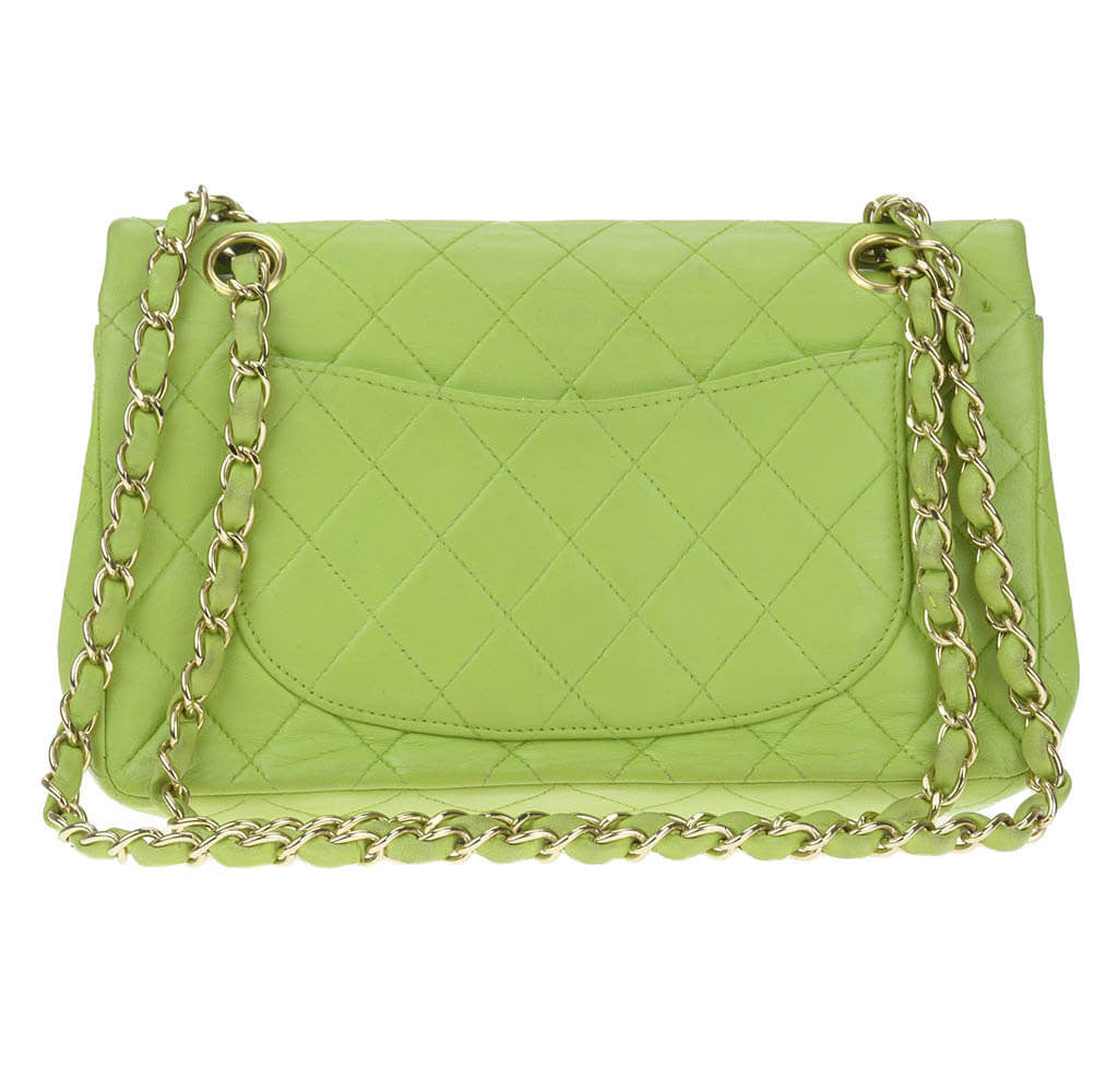 a75a9055bc27 Chanel Flap Bag Green Lambskin Leather - Gold Hardware   Baghunter