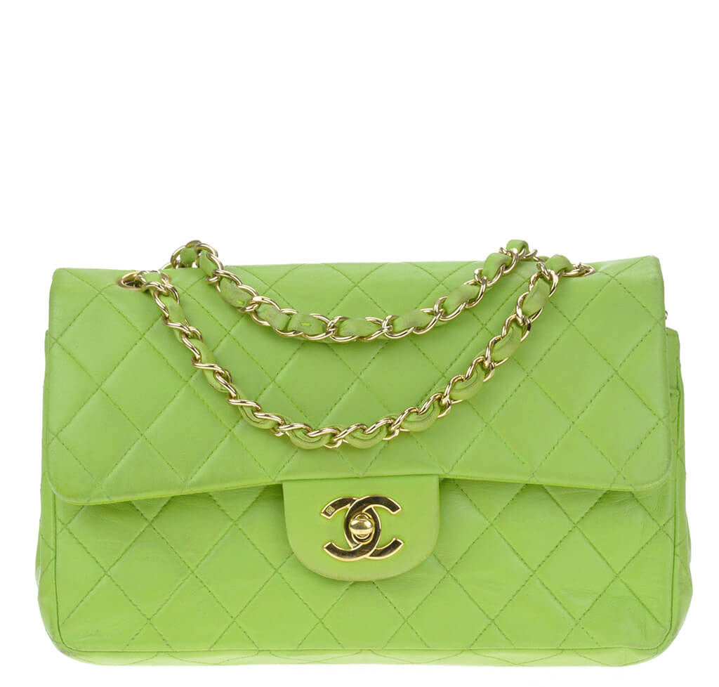 Chanel Flap Bag Green Lambskin Leather - Gold Hardware | Baghunter
