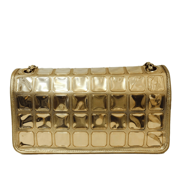 chanel ice cube bag gold metallic limited edition used back