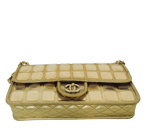 chanel ice cube bag gold metallic limited edition used bottom