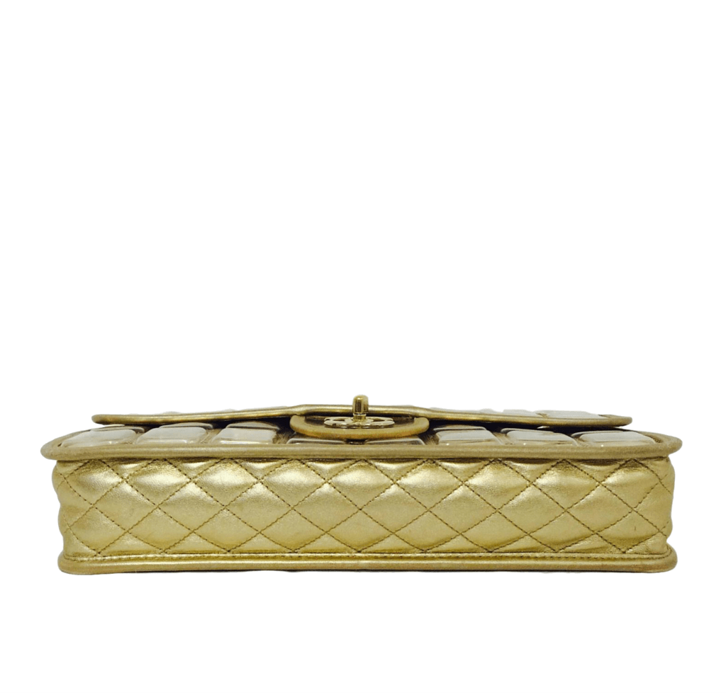 795c3c256101 ... chanel ice cube bag gold metallic limited edition used bottom ...