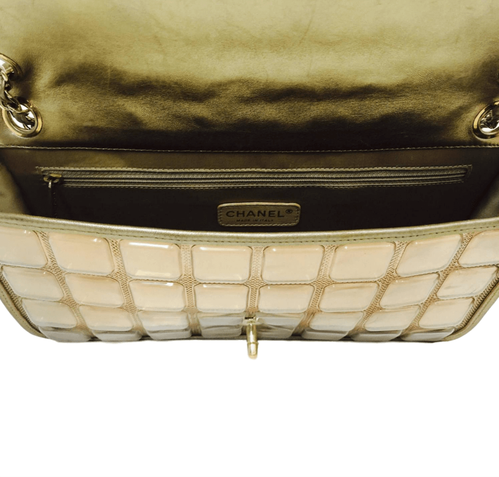 10c4b381be5d ... chanel ice cube bag gold metallic limited edition used inside