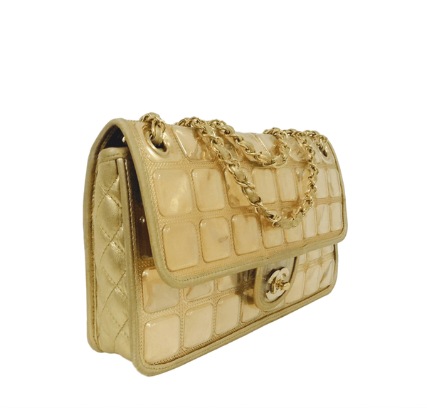 chanel ice cube bag gold metallic limited edition used side