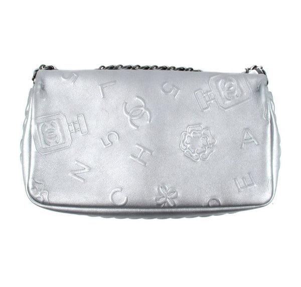 Chanel Jumbo Shoulder Lucky Charms Silver Used back