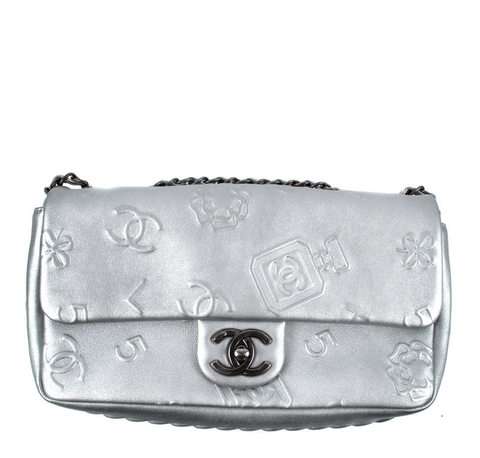 Chanel Shoulder Lucky Charms Bag Silver