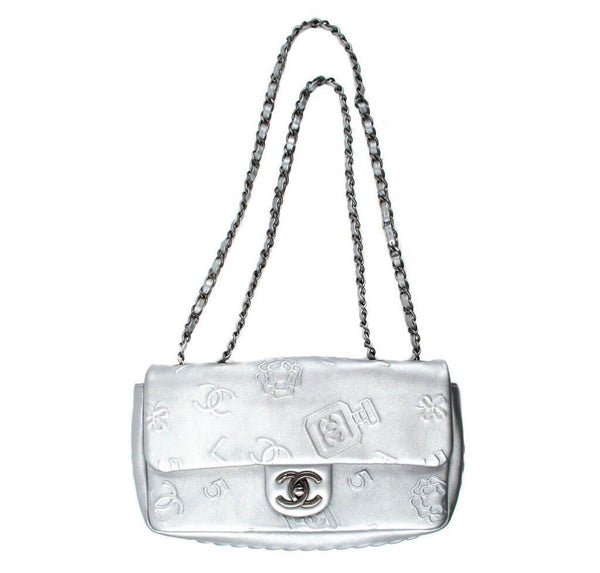 Chanel Jumbo Shoulder Lucky Charms Silver Used front