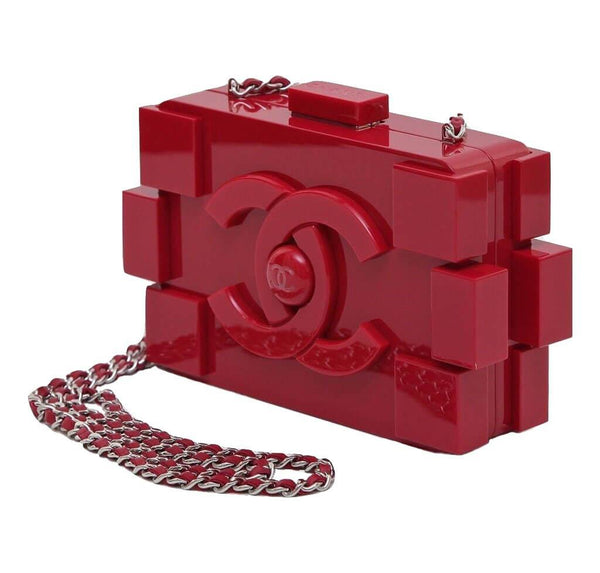 Chanel Lego Brick Red Used Side