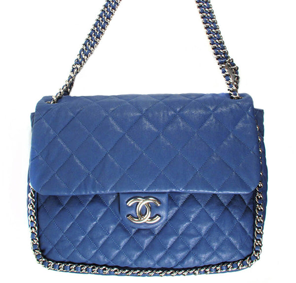 Chanel Maxi Flap Bag Blue Lambskin