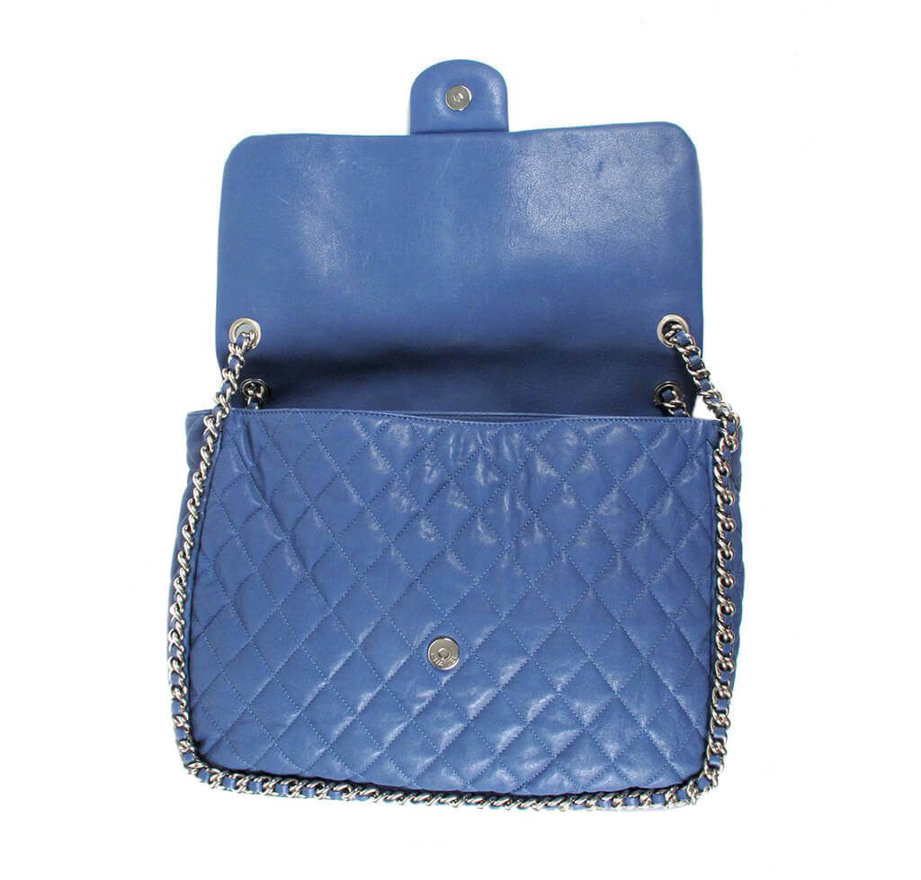 Chanel Maxi Flap Bag Blue Lambskin Leather - Silver Hardware  d926284277569