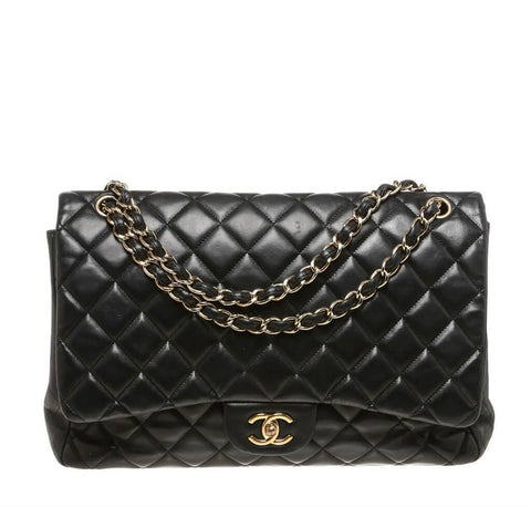 Chanel Maxi Shoulder Flap Bag Black Lambskin Leather