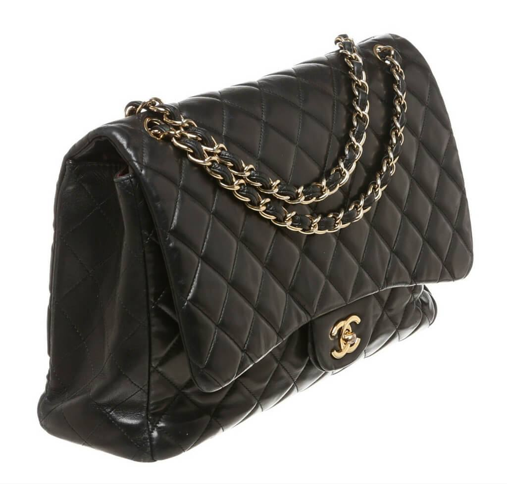 e789619fd8cd Chanel Shoulder Bag Black Lambskin chanel maxi shoulder flap black used side  ...
