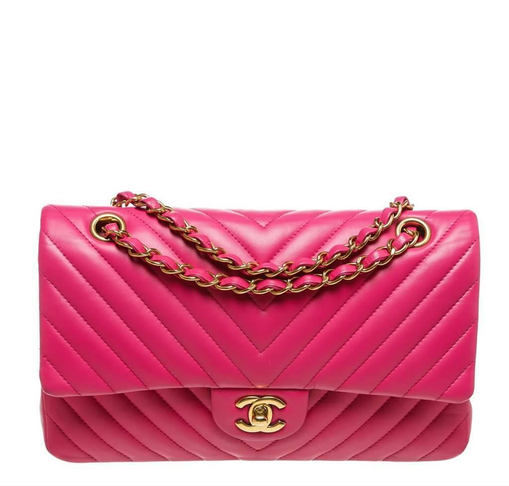 5f29e78f90 Chanel Classic Medium Flap Bag Pink - Chevron Leather | Baghunter