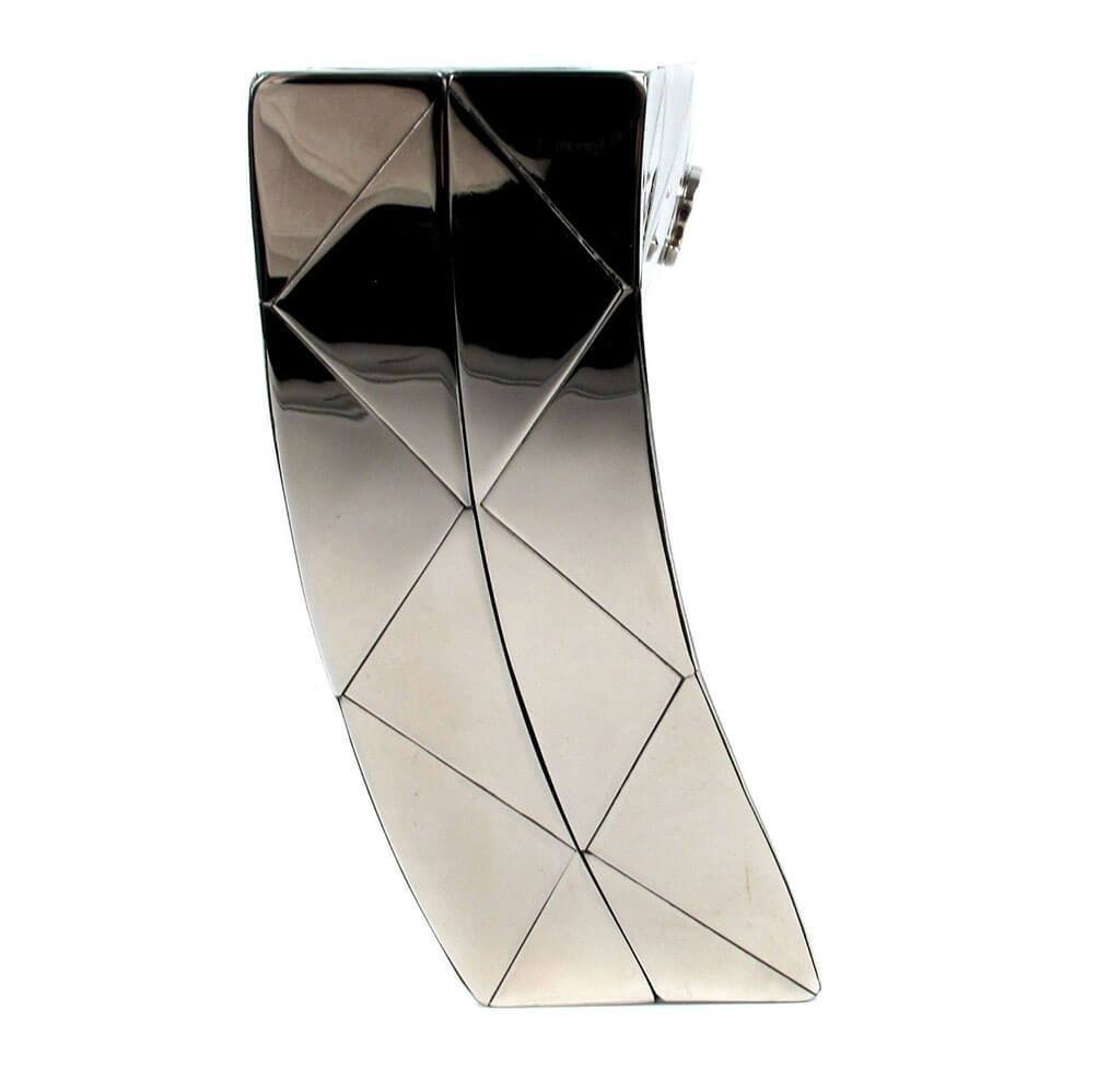 18ab127bbca354 ... Chanel Twisted Mirror Runway Bag Silver Used Interior ...