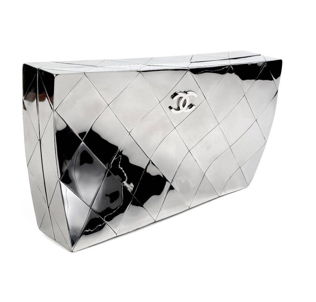 c3458a5731cd83 ... Chanel Twisted Mirror Runway Bag Silver Used Side ...