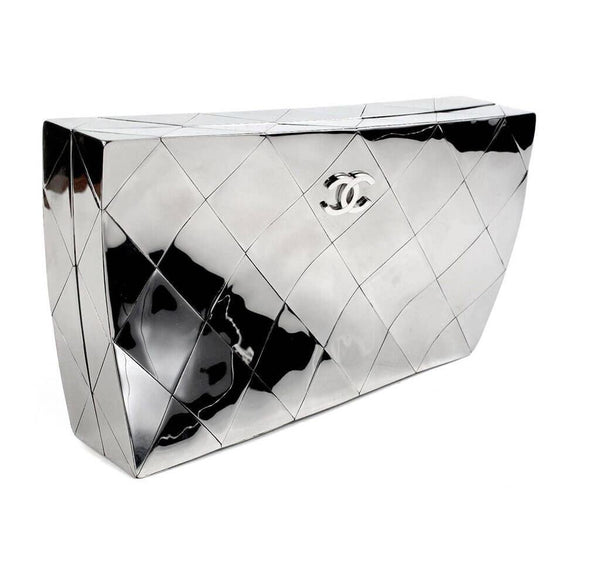 Chanel Twisted Mirror Runway Bag Silver Used Side