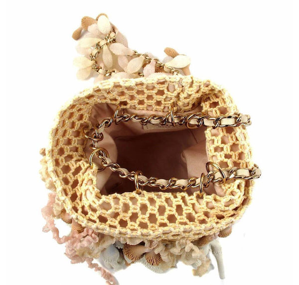 Chanel Minaudiere Coral Seashell Tan Used Interior