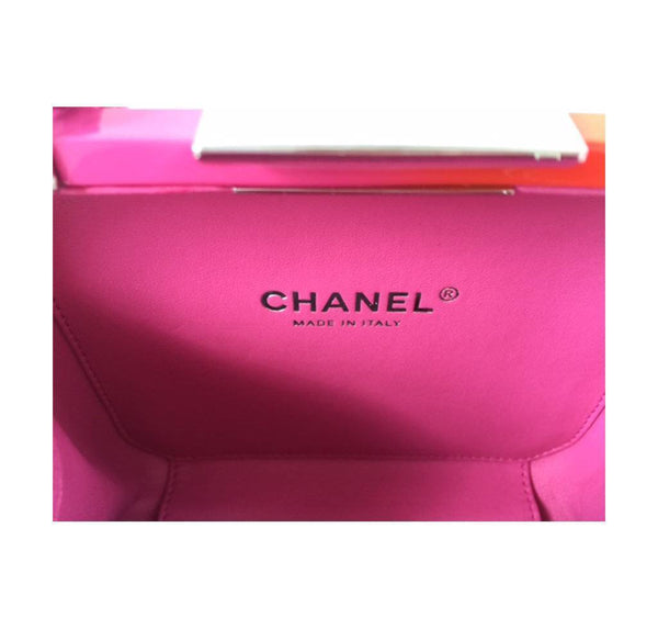 Chanel minaudiere ombre red pink new embossing