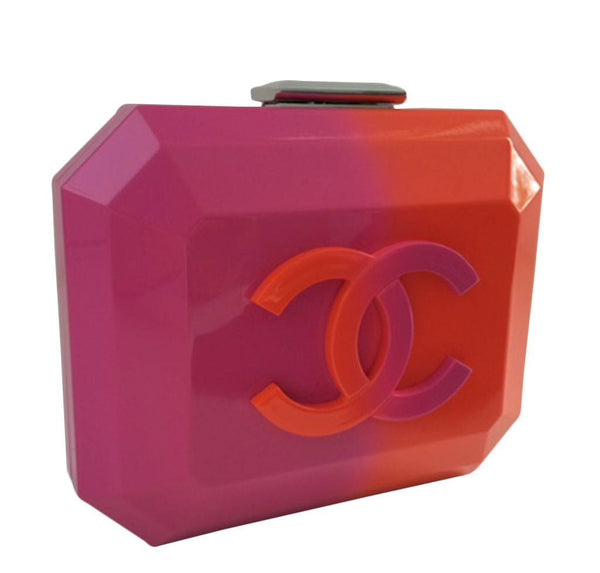 Chanel minaudiere ombre red pink new front