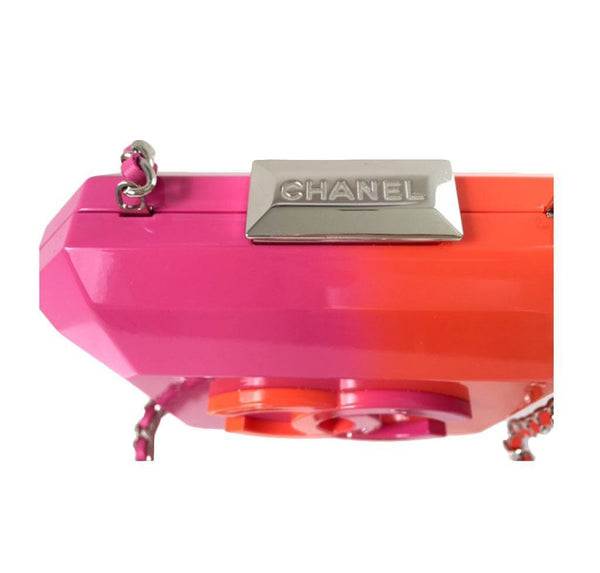 Chanel minaudiere ombre red pink new detail