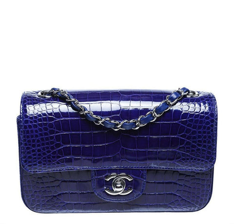 Chanel Alligator Classic Flap Bag Blue