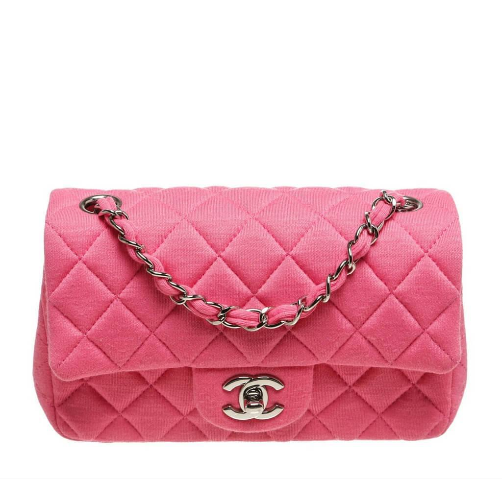 bdb044bbd479 Chanel Mini Flap Classic Bag Pink - Quilted Jersey