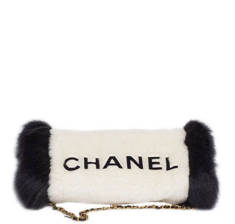 Chanel Muff Bag Black White Fur
