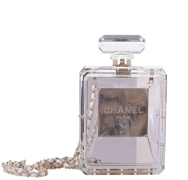 Chanel Perfume Bottle Bag Clear Plexiglass